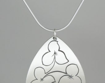 "Calligraphic Trillium Pendant, Sterling Silver Rounded Triangle Disc, 1 1/4"" high"