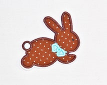 Iron on Sew on Chocolate Bunny Hop Applique Patch