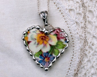 Necklace, Broken China Jewelry, Broken China Necklace, Heart Pendant, Floral Chintz China, Sterling Silver, Soldered Jewelry