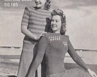 Kitting etsy vintage 1940s patons knitting pattern no 195 for womenladies original pattern fandeluxe Choice Image