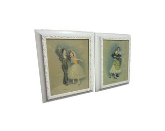 CLEARANCE Vintage Flamenco Dancers Prints - Pair Mid Century Modern Wall Hangings, Spanish Dancers, Framed Wall Art, Signed D'Amario,
