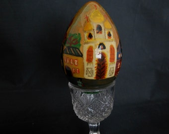 Wood Easter Egg Russian Lacquer Handpainted with Buildings