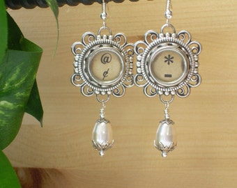 Typewriter Key Earrings ~ Punctuation Keys ~ Teardrop Pearls