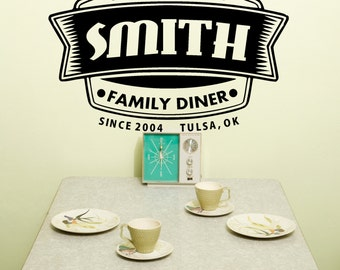 Personalized Wall Art, Retro Wall Decal, 50's Kitchen sign,Vinyl Kitchen Sign, Family Diner Vinyl Decal