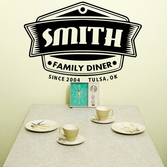 Retro Kitchen Wall Decor: Personalized Wall Art Retro Wall Decal 50's Kitchen