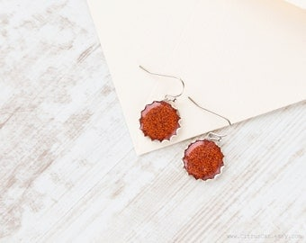Red gold glitter earrings, Small earrings, Terracotta earrings, Sparkly earring, Orange Earrings, Red Earrings, worldwide shipping