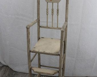 Vintage Victorian 1900s Doll High Chair Original Paint Primitive Doll Chair