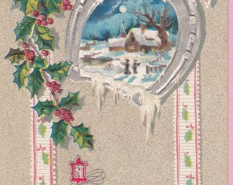 Ca. 1909 Embossed Christmas Greetings Postcard w/ Pastoral Winter Scene - 1566