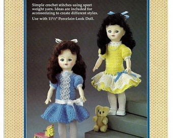 """Party Time outfits for 11 1/2"""" Porcelain look  Doll Crochet  Pattern Fibre Craft  FCM215"""