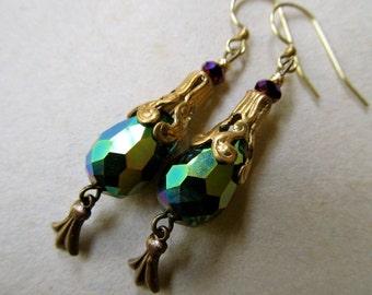 Art Nouveau Earrings Art Deco Peacock Earrings 1920s Earrings Filigree Earrings Teardrop Earrings Blue Green Earrings- Peacock Feathers