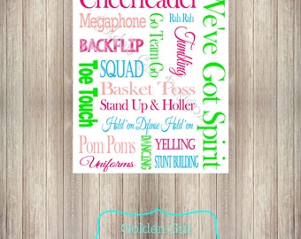 INSTANT UPLOAD-DIY Printable Cheerleader Subway/Wall Art