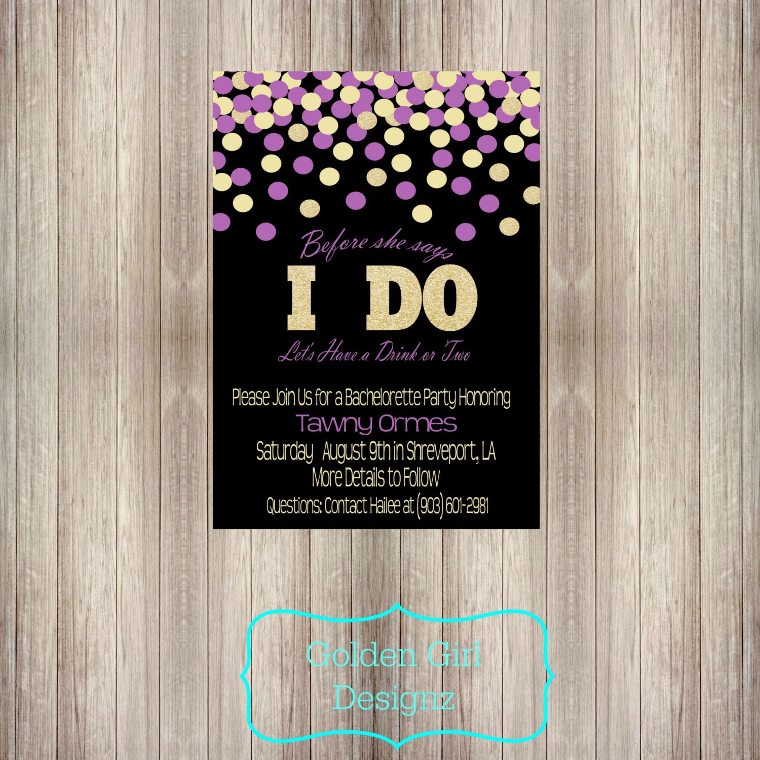 zoom - Printable Bachelorette Party Invitations