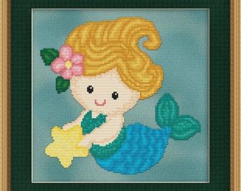 Cross Stitch Pattern Sweet Little Mermaid Design Instant Download PdF Cute Aquatic Fantasy Design