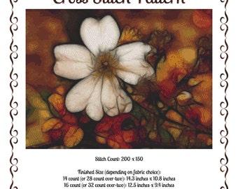 Cross Stitch Pattern Fall Flower Autumn Floral Design Instant Download PdF Seasons