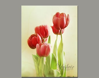 Tulips- Photography print of bunch of tulips. Red and white. Enchanted and romantic. Spring summer neutral home decor.