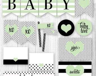 Printable Baby Shower Package - Mint & Black. Baby Love Baby Shower Decorations Package. DIY Printable Baby Shower Decor.