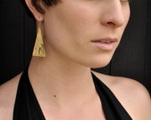 Brass Geometric Statement Earrings // Starry Night Hand Hammered Triangle Earrings