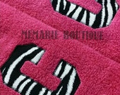 Set of 2 Black and White Zebra Initial Pink hand towels