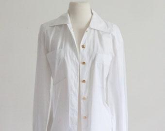 SALE 80s ESCADA / Haute Couture Designer Blouse - Gold Button White Cotton