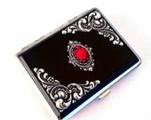 Cameo Cigarette Case Gothic Cigarette Case Red Rose Cameo Ornate Black Case Gothic Accessories