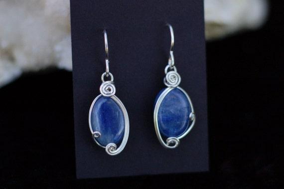 Blue Kyanite Earrings in Sterling Silver / Wire Wrapped Earrings / Blue Gemstone Jewelry / Blue and Silver / Artisan Jewelry