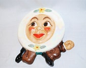 Adorable 1950s Anthropomorphic Plate Wall Hanging by Irene Smith in Ceramic -- Sweet Vintage Fun