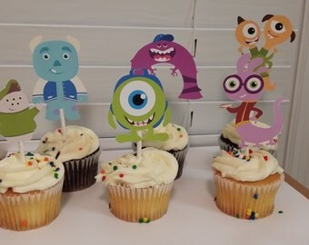 12 Monsters cupcake toppers