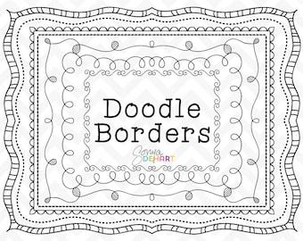 80% OFF Sale Doodle Clipart, Doodle Frames, Clipart Frames, Doodle Borders, Clipart Borders, Hand Drawn Borders, Page Borders