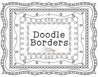 Doodle Clipart, Doodle Frames, Clipart Frames, Doodle Borders, Clipart Borders, Hand Drawn Borders, Page Borders