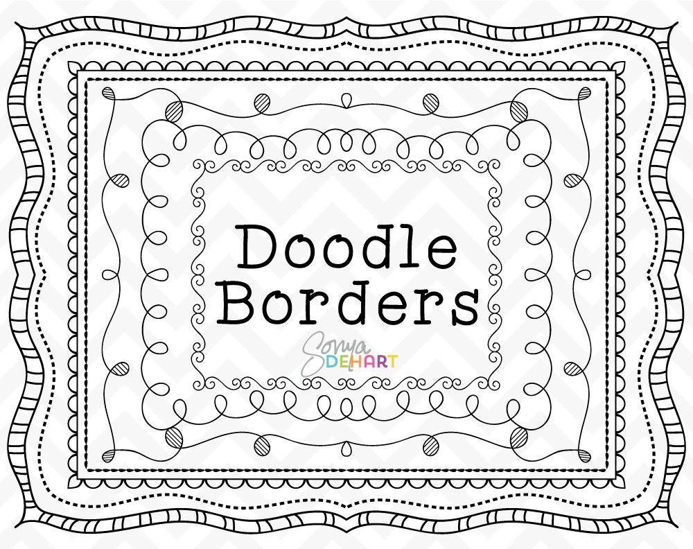 80% OFF Sale Doodle Clipart Doodle Frames Clipart Frames