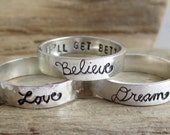 Inspiration Rings - Sterling Silver Rings - Personalize with your OWN Inspirational Message