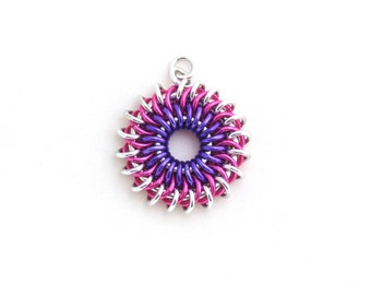 Sunburst Chain Maille Pendant, Aluminum Jewelry, Pink and Purple Jump Ring Jewelry
