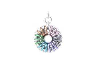 Pastel Chain Maille Pendant, Rainbow Jewelry, Aluminum Jump Ring Jewelry, Multicolor Pendant