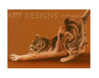 ACEO Cat Art Print, Stretching Calico Cat, Kitten, SFA Small Format Art, Artist Trading Card, Cat Pastel Print, Archival Art Print, ADA-P319