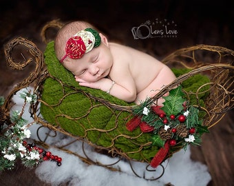 Holly Jolly- Red, Cream and Green headband, christmas headbands, newborn headbands, red headbands, photography prop, gold holiday headbands