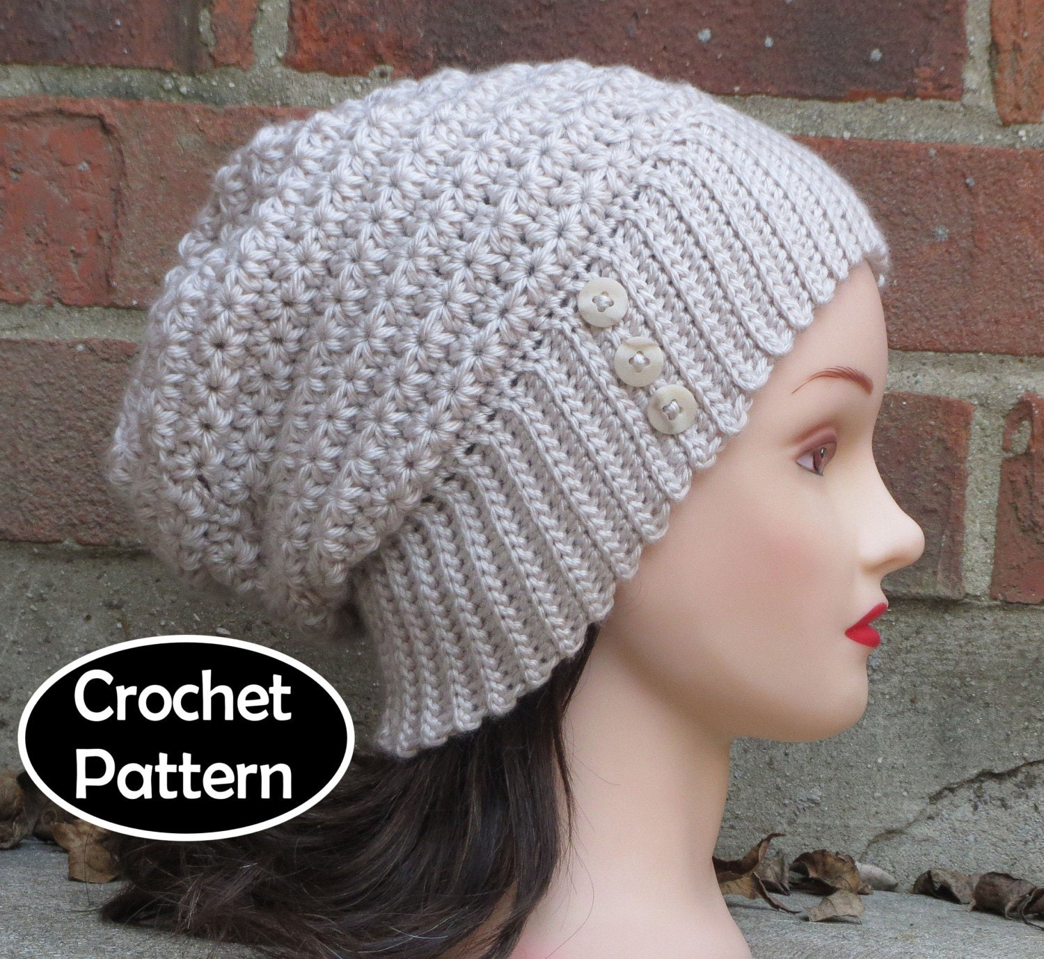 CROCHET HAT PATTERN Instant Download Pdf Anneliese Slouchy