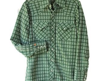 70s Ely Plains Shirt / Rockabilly / Mens / Geometric / Westernwear / Green