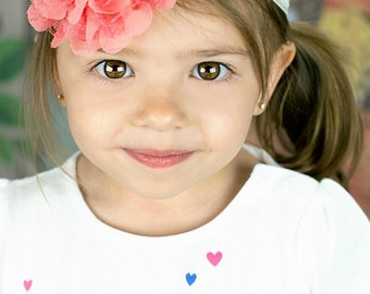 Cream & Coral Headband - Baby Wedding Flower Girl Photo Prop - Newborn Girls Adult Chiffon Lace Peach