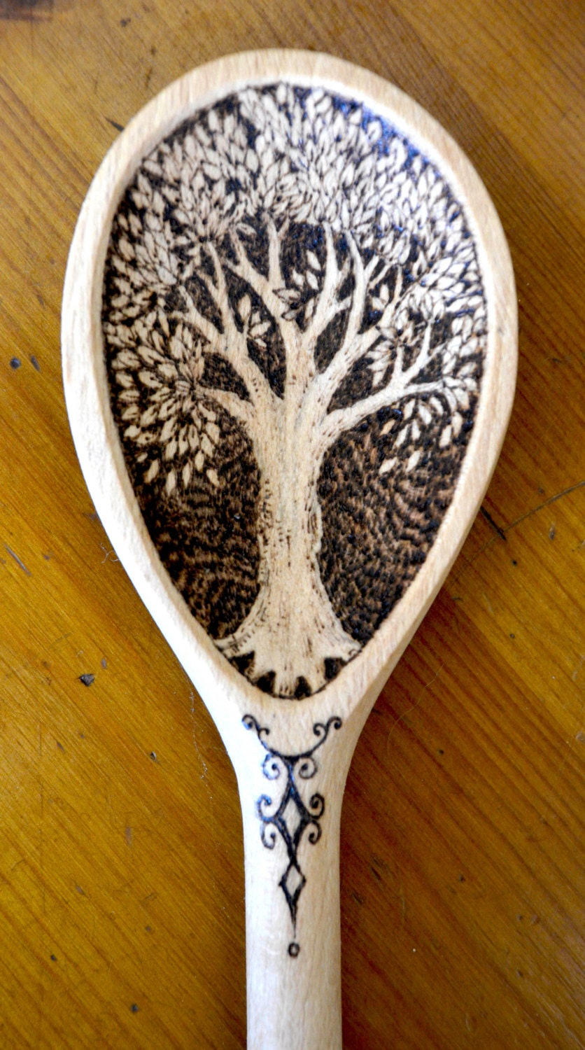 Wooden spoon decorated with pyrography can be personalised