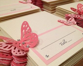 Escort Place Table Name Card Pearl Paper, Swarovski Crystals and Butterfly - for Wedding or any other party or shower