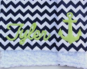 Nautical Baby Blanket, Monogrammed Blanket, Anchor Baby Blanket