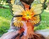 Orange Monarch Butterfly Wings - Flower Embellished - Butterfly Costume - Fairy Halloween Costume - Wearable Birthday Party Favor