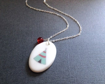 Teepee Tent Necklace. Camping. Fun. Wilderness. Nature. Wild. Aqua. Red. White Porcelain Pendant. Oval. Silver Chain. Cute. Whimsical Fun