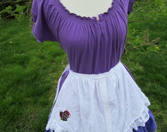 Upcycled Steampunk Clothing, Alice Dress Purple, Alice in Wonderland Costume, Ladies Size M