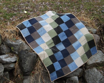 "Upcycled Patchwork Blanket, 40"" X 46"" Repurposed Work Pants, Jeans, Corduroy, Cotton Canvas, Modern Unisex, Improvisational Scrap Art Quilt"