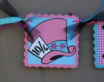 Alice In Wonderland Pink and Blue UnBirthday Party -  Pink and Blue Mad Hatter Birthday Banner