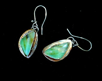 Peruvian Opal Sterling Silver Textured Dangle Earrings