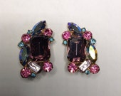 Juliana aka DeLizza and Elster Earrings  Purple, Blue, Aqua Clip Earrings   Item No: 16757