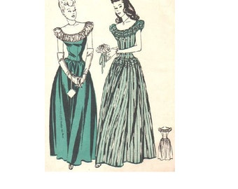 1940s Evening Gown Garden Tea Party Dress Butterick Sewing Pattern 3741 Fitted Bodice Dirndl Skirt Puff Sleeve Prom Debutante Bust 32
