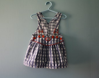 Vintage Osh Kosh Nautical Denim Shortall Dress / red white & blue jumper / July 4th Overall Dress / Toddler girl 2T